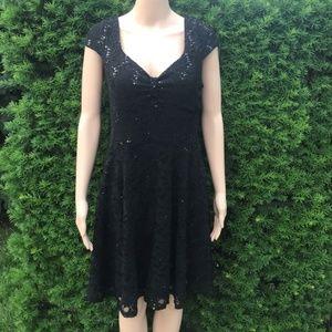 •Modcloth• Yellow Star Little Black Sequin Dress